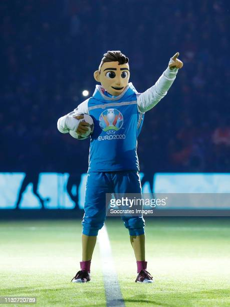 Skillzy the new mascot of the EURO 2020 during the EURO Qualifier match between Holland v Germany at the Johan Cruijff Arena on March 24 2019 in...