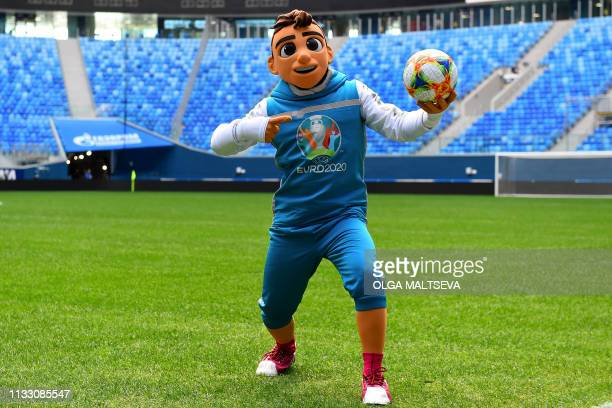 Skillzy the official mascot for the Euro 2020 football tournament is seen during a presentation at the Saint Petersburg Stadium in Saint Petersburg...