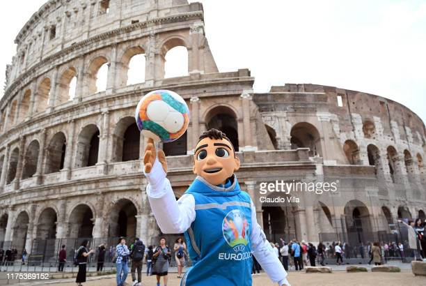Skillzy the UEFA Euro 2020 mascot photographed around the city on October 12 2019 in Rome Italy