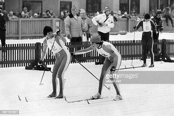 Skiläuferin DDR bei den XIII Olympischen Winterspielen in Lake Placid 4x5km Staffel AndingHesse 1980