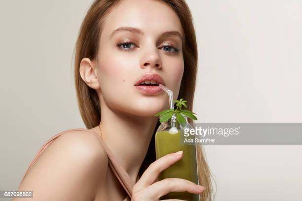 Skin Boost with healthy green detox juice