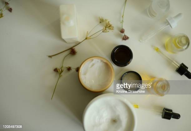 skin care products on a white background - kristina strasunske stock pictures, royalty-free photos & images