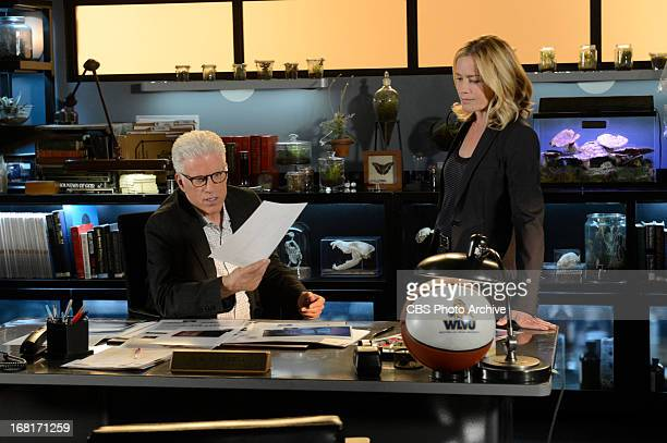 Skin in the Game DB Russell goes over a document with Julie Finlay on the 13th season finale of CSI CRIME SCENE INVESTIGATION Wednesday May 15 on the...