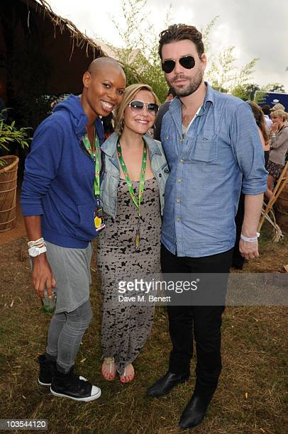 Skin of Skunk Anansie with Heidi Range and Dave Berry pose for a photograph in the official VIP backstage area hosted by Mahiki during Day Two of V...