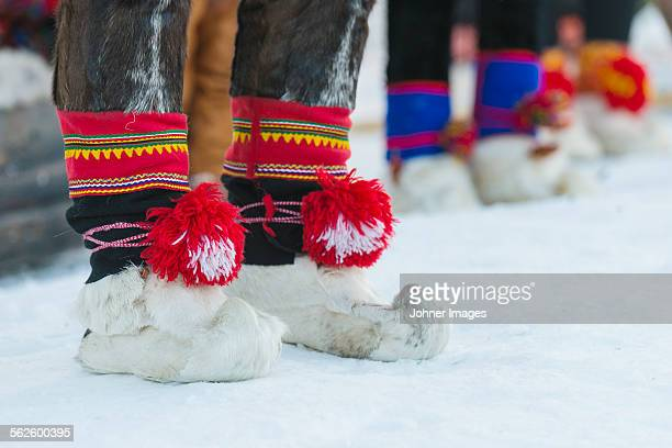 skin shoes - swedish lapland stock photos and pictures