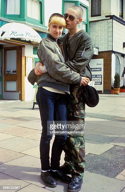 A skinhead couple embracing Brighton 1983