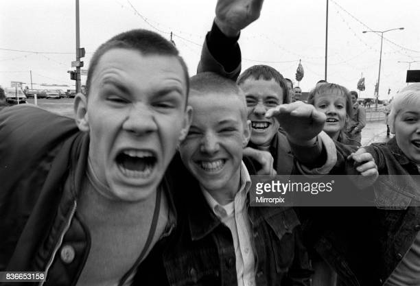 Skinheads in Southend giving Nazi salute 1981