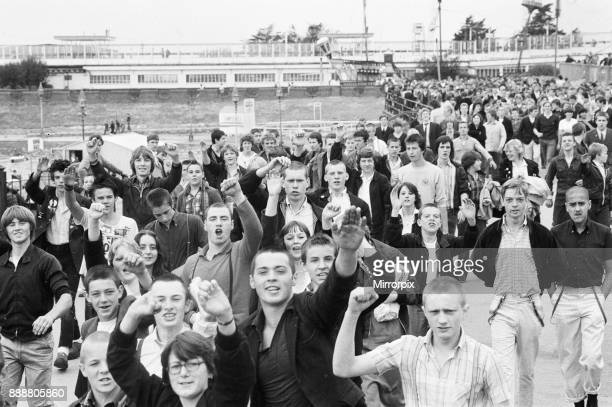 Skinheads on the beach at Southend Essex on Bank Holiday Monday 27th August 1979