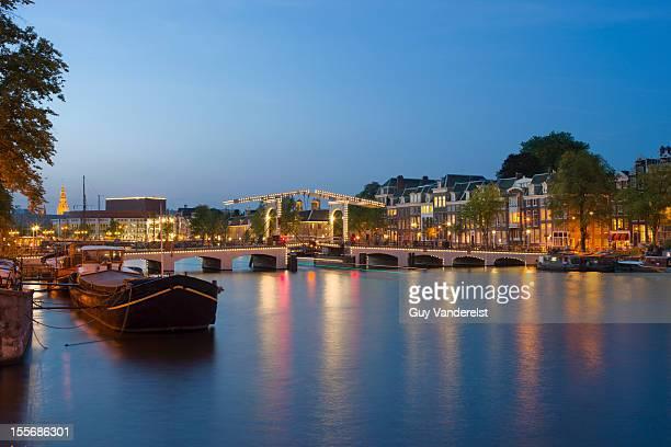 Skinny Bridge in Amsterdam at dusk