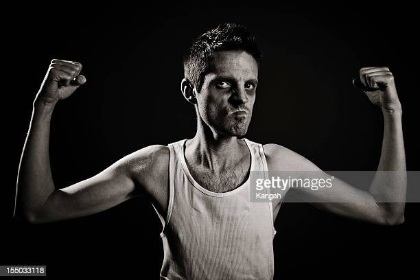 skinny strong man - black eye stock pictures, royalty-free photos & images