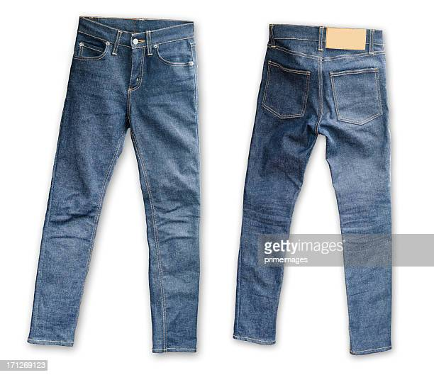 skinny tight  blue jeans  on white background - spijkerbroek stockfoto's en -beelden
