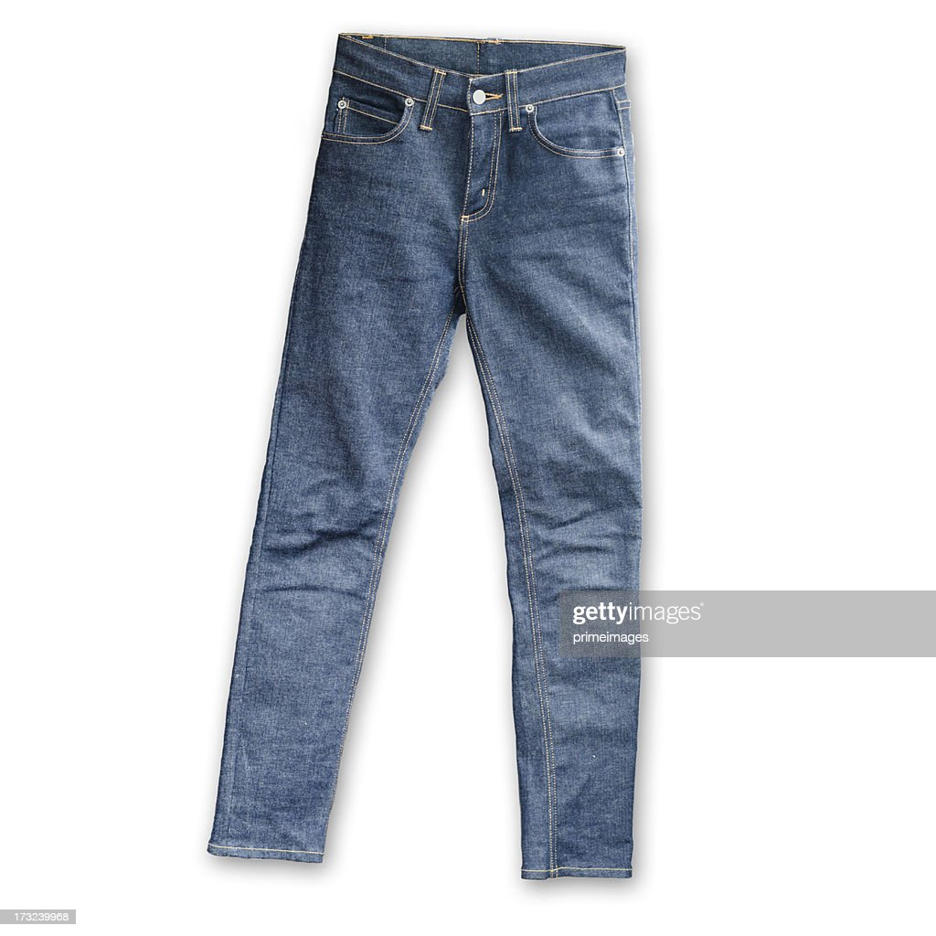 Skinny Tight  Blue Jeans  on white background : Stock Photo