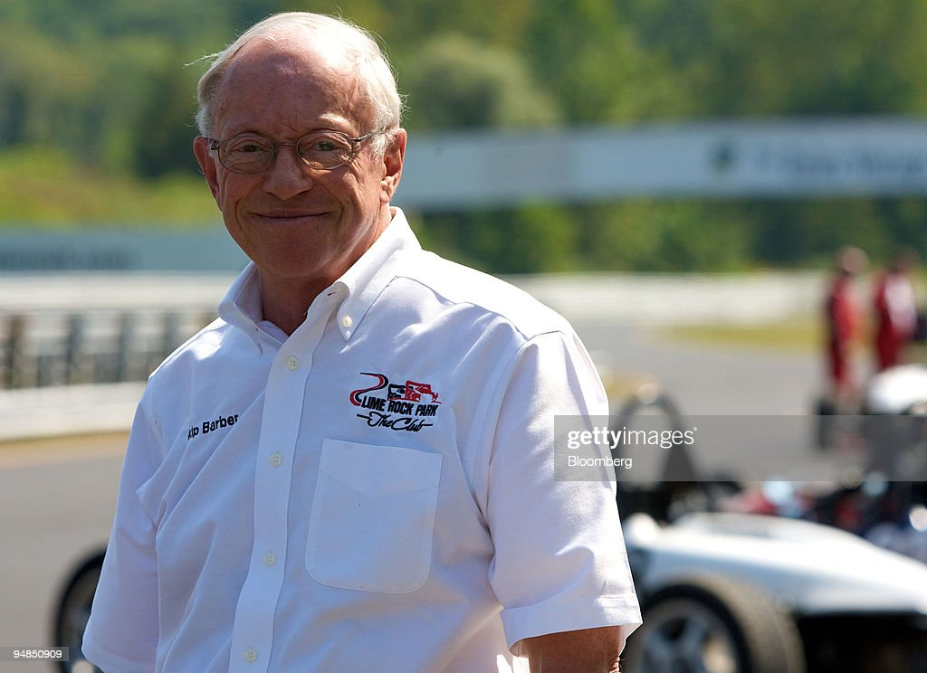 Skip Barber, owner of the Lime Rock Park racetrack, poses fo : News Photo