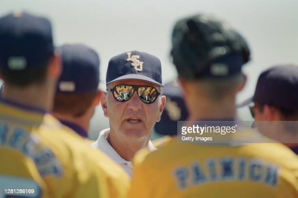Skip Bertman, Head Coach for the Louisiana State University Tigers addresses his players before the NCAA Division I Baseball College World Series...