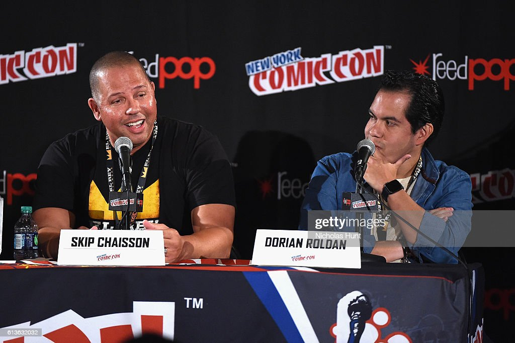 Skip Chaisson and Dorian Roldan speak onstage at Lucha Underground Panel at Javits center during 2016 New York Comic Con on October 9, 2016 in New York City.