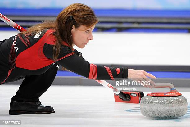 Skip Cheryl Bernard delivers a stone during Canada loss to Sweden in Gold medal match in Women's Curling at the Vancouver Olympic Centre
