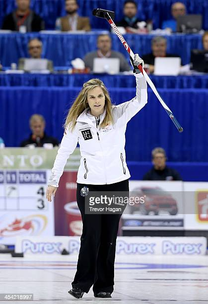 Skip Jennifer Jones celebrates after hitting to score 3 during Women's Final against Team Middaugh at the Roar of the Rings Canadian Olympic Curling...