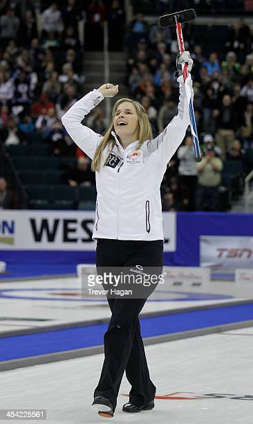 Skip Jennifer Jones celebrates after winning the Women's Final against Team Middaugh at the Roar of the Rings Canadian Olympic Curling Trials on...
