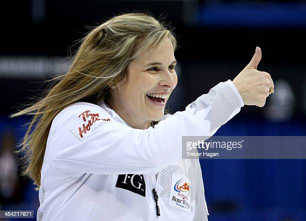 Skip Jennifer Jones gives a thumbs up during the Women's Final against Team Middaugh at the Roar of the Rings Canadian Olympic Curling Trials on...
