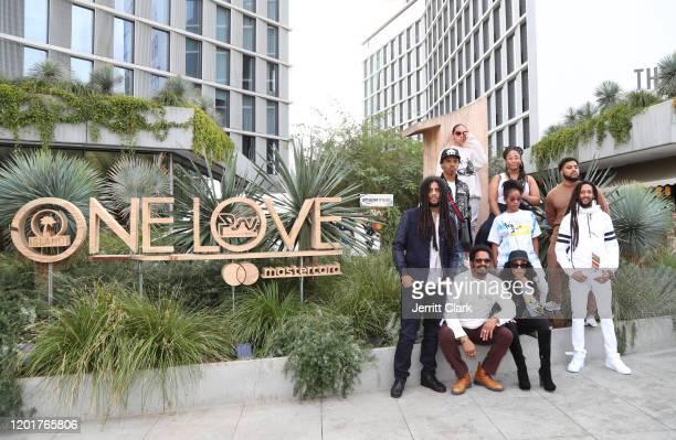 Skip, Joshua, Mystic, Zuri, Nico, Rohan, Cedella, Shacia and Julian Marley pose outside Primary Wave x Island Records Presented By Mastercard: One...
