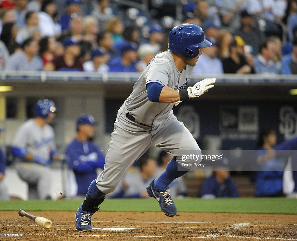 Skip Schumaker #3 of the Los Angeles Dodgers hits a single during the third inning of a baseball game against the San Diego Padres at Petco Park on June 20, 2013 in San Diego, California.