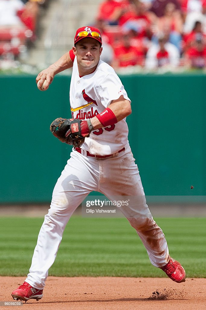Skip Schumaker #55 of the St. Louis Cardinals throws to first base against the Houston Astros at Busch Stadium on May 13, 2010 in St. Louis, Missouri. The Astros beat the Cardinals 4-1.