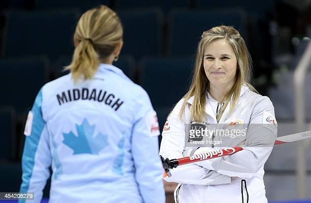 Skip Sherry Middaugh chats with Skip Jennifer Jones during the Women's Final at the Roar of the Rings Canadian Olympic Curling Trials on December 7...