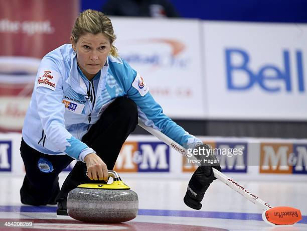 Skip Sherry Middaugh throws a rock during the Women's Final against Team Jones at the Roar of the Rings Canadian Olympic Curling Trials on December 7...