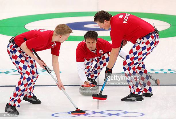 Skip Thomas Ulsrud of Norway releases his stone during the men's curling round robin game between Canada and Norway on day 5 of the Vancouver 2010...