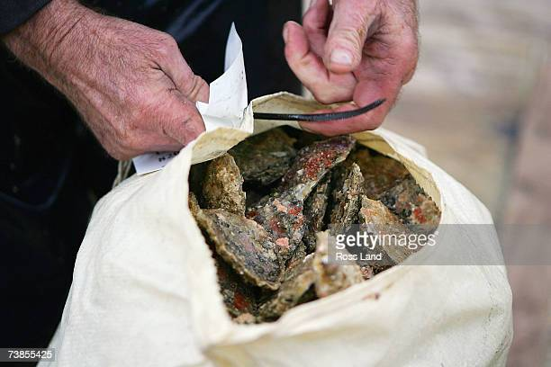 Skipper Brian Hawke sews oyster sacks aboard the Golden Lea as she sails off Stewart Island approximately 20 miles from her home port on March 27...