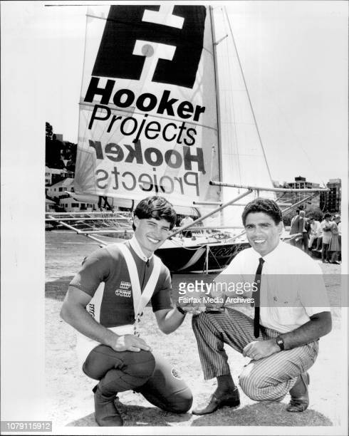 Skipper Craig Ramsden with Rugby Union player Mark Ella who launched the new Hooker Project 18 footer at Steyne Park Double Bay October 22 1985