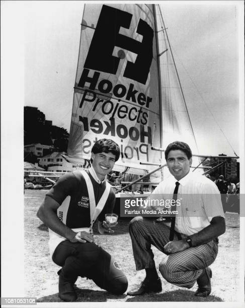 Skipper Craig Ramsden with Rugby Union player Mark Ella who launched the new Hooker projects 18 footer at Steyne Park Double Bay October 22 1985
