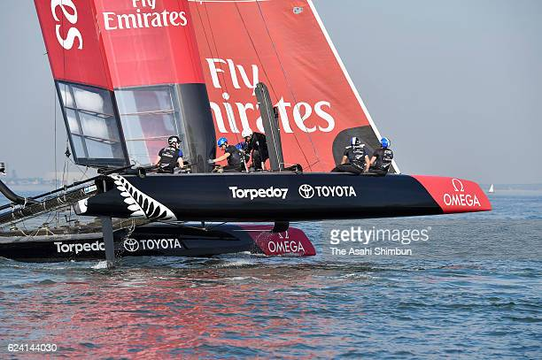 Skipper Glenn Ashby and the Emirates Team New Zealand in action ahead of the Louis Vuitton America's Cup World Series Fukuoka on November 18 2016 in...