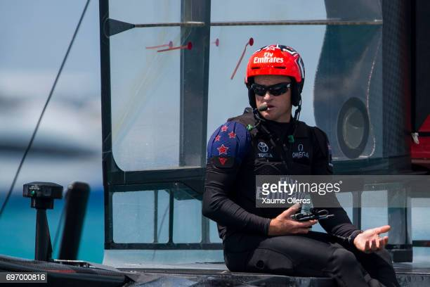 Skipper Glenn Ashby of Emirates Team New Zealand skippered by Peter Burling speaks on the radio after winning both races on day one of the America's...