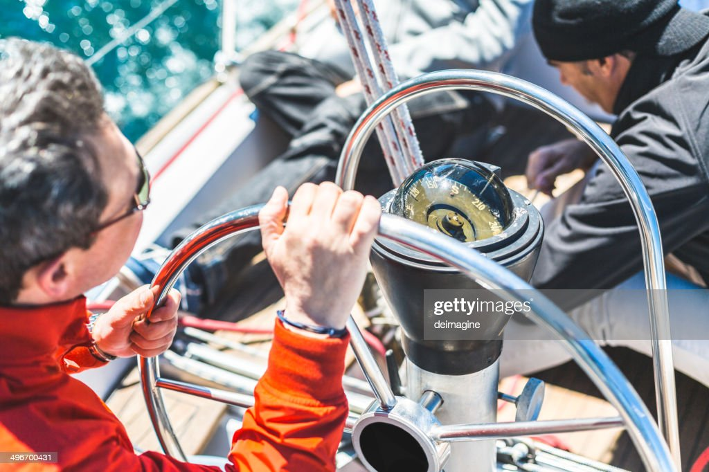 Skipper Helm Boat : Stock Photo