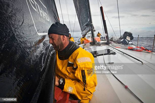Skipper Ian Walker from the UK on the foredeck for a sail change onboard Abu Dhabi Ocean Racing during leg 4 of the Volvo Ocean Race 201112 from...