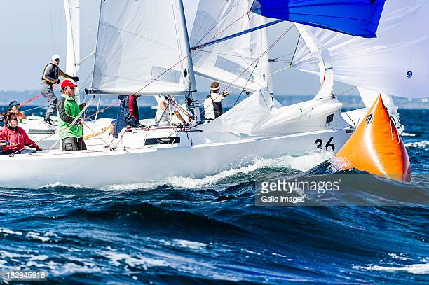 Skipper Jessica Lenz and crew in bow 36 of South Africa are about to cross the finish line mid fleet in the second race of the J/22 World...