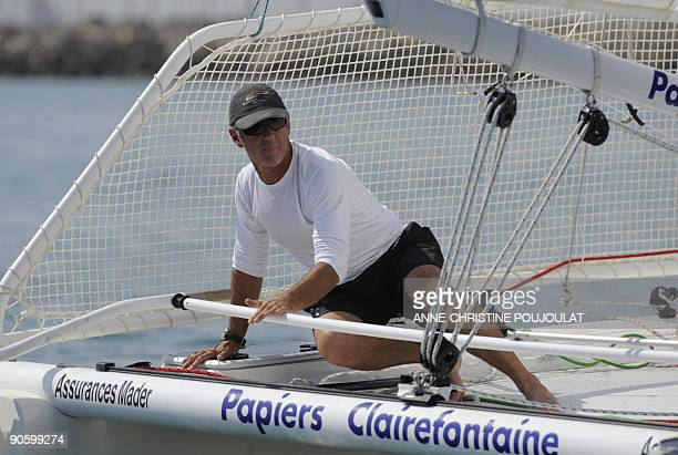 Skipper Loick Peyron is at helm on his catamaran during a sailing event on the eve of the launching of the 20th Trophee Clairefontaine sailing race...