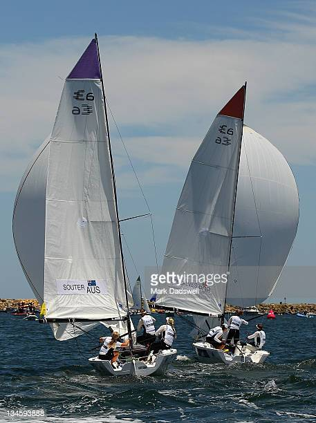 Skipper of the Australian boat Nicky Souter competes with Rita Goncalves of Portugal in the Women's Match Racing round robin held on the Harbour...