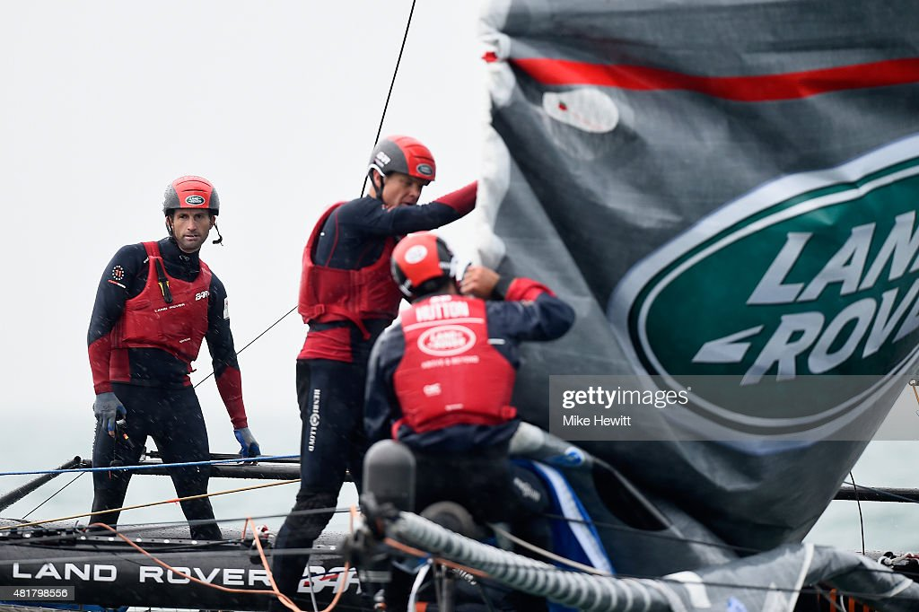 Skipper Sir Ben Ainslie and the crew of Land Rover BAR in action during a trial race on Day Two of the Louis Vuitton America's Cup World Series on July 24, 2015 in Portsmouth, England.