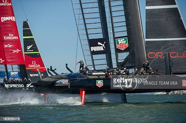 ORACLE TEAM USA skippered by James Spithill and Emirates Team New Zealand skippered Dean Barker Sailed in AC 72s carbon catamarans during day 6 of...