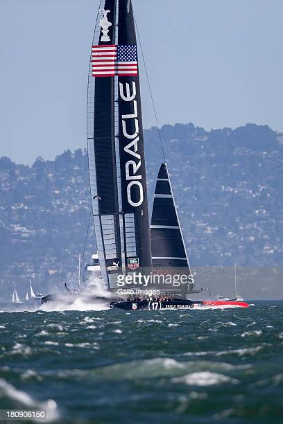 Skippered by James Spithill and Emirates Team New Zealand skippered Dean Barker Sailed in AC 72s carbon catamarans during day 7 of the America's Cup...
