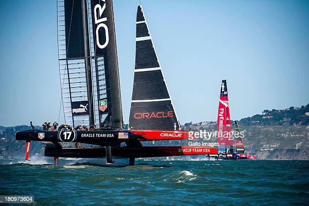 ORACLE TEAM USA skippered by James Spithill and Emirates Team New Zealand skippered Dean Barker Sailed in AC 72s carbon catamarans during day 8 of...