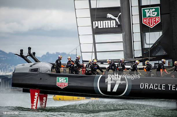 ORACLE TEAM USA skippered by James Spithill and Emirates Team New Zealand skippered Dean Barker Sailed in AC 72s carbon catamarans during day 10 of...