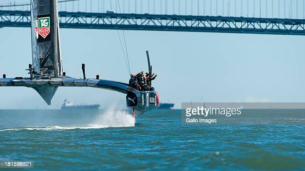 ORACLE TEAM USA skippered by James Spithill and Emirates Team New Zealand skippered Dean Barker Sailed in AC 72s carbon catamarans during day 12 of...