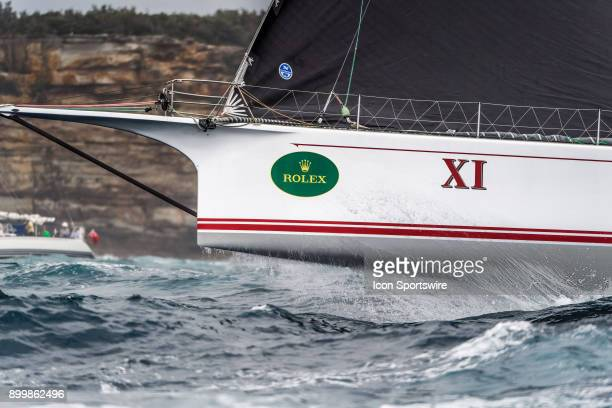 XI skippered by Mark Richards heads out of Sydney Harbour to open ocean following the start of the 73nd Rolex Sydney Hobart Yacht Race 2017 on...