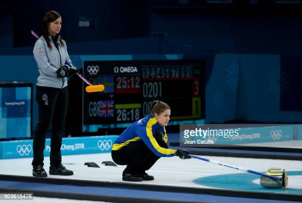 Skippers Eve Muirhead of Great Britain and Anna Hasselborg of Sweden during the women's curling semifinal game between Sweden and Great Britain on...