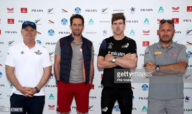 Skippers Terry Hutchinson of the New York Yacht Club, Ben Ainslie of INEOS Team UK, Peter Burling of Emirates Team New Zealand and Max Sirena of Luna...
