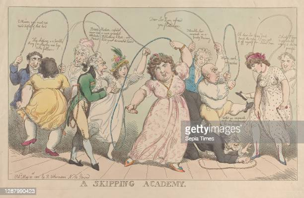 Skipping Academy, Thomas Rowlandson , After George Moutard Woodward , May 20 Hand-colored etching, Plate: 11 5/8 × 18 5/8 in. , Sheet: 13 1/4 in. ×...