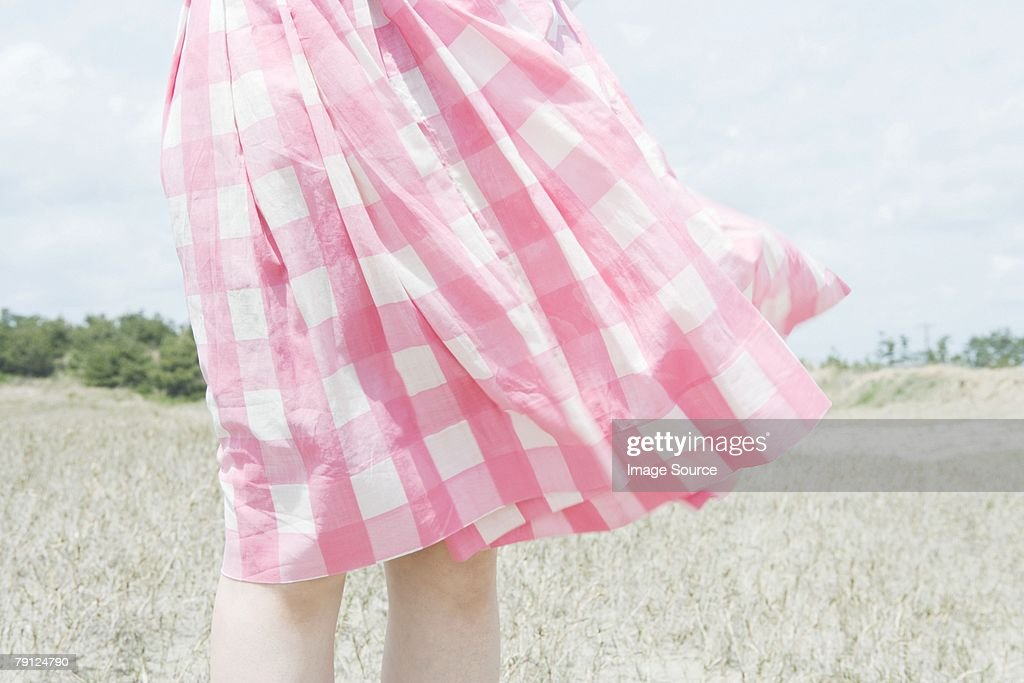 Skirt blowing in breeze : Stock Photo